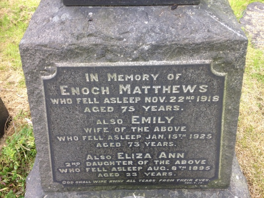 Headstone of Enoch, Emily and Eliza Ann Matthews in Alfreton Cemetery, 2016.