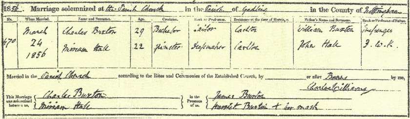 Charles Buxton and Miriam Hall's marriage certificate