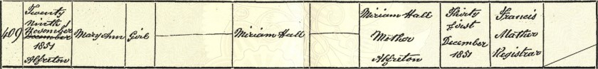 Mary Ann Hall birth certificate
