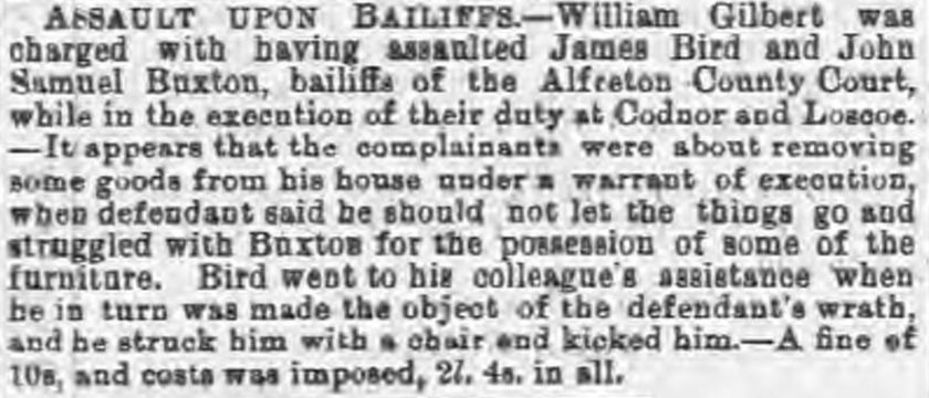 Assault upon bailiffs