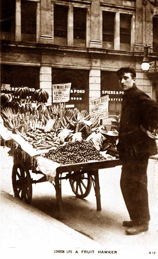 London, Vintage photo of a barrow boy or fruit hawker